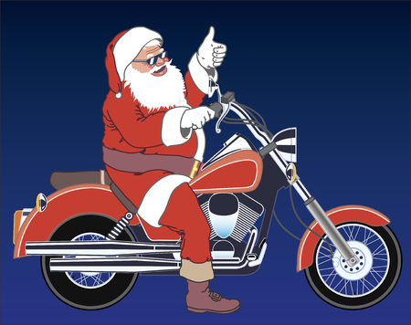 Santa motorciclyst Stock Vector - 2356428