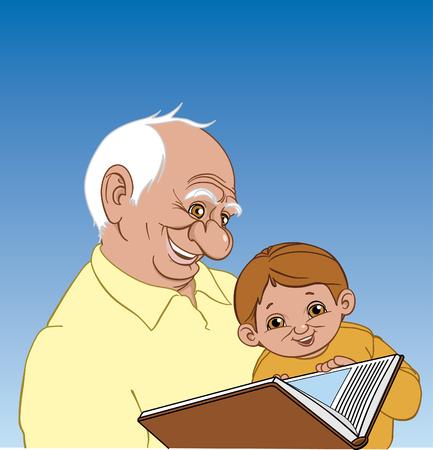 hombre sentado: El abuelo le dice a su nieto una historia  Vectores