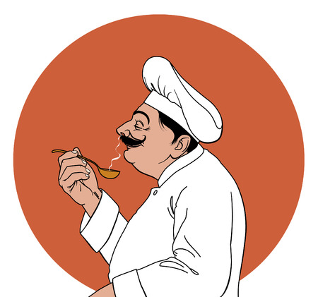 sense: Chef in profile tasting Illustration