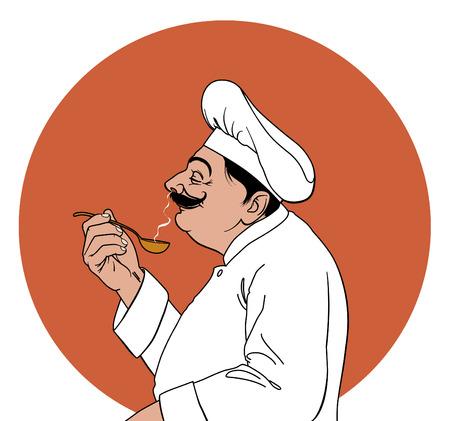 Chef-kok in het profiel proeven  Stock Illustratie