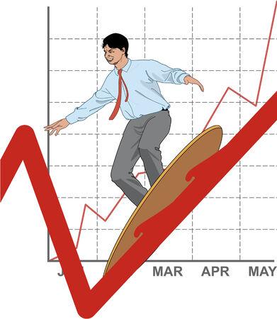 busines: Busines man surfing on prosperous balances Illustration