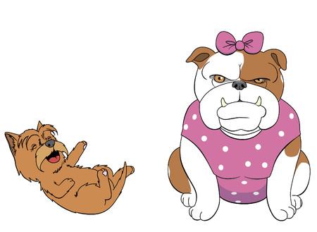 infantile: Terrier making fun of the bulldog