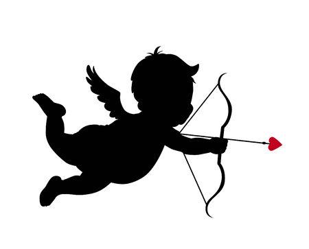 arco y flecha: Cupido silueta  Vectores