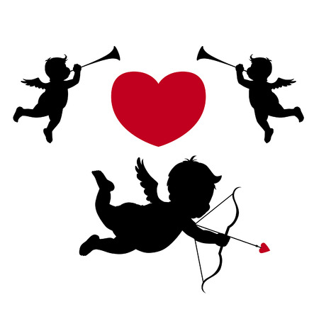 Silhouette cupid and musician angels Vector