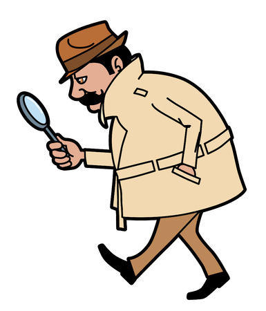 Investigator looking up clues Vector