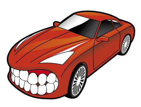 Sports car showing teeth Stock Vector - 2558879