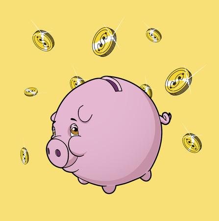 Piggy bank under rain of coins Illustration
