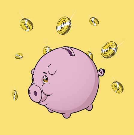 Piggy bank under rain of coins Illustration