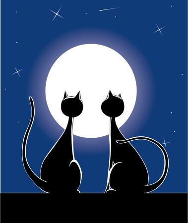 Cat at night Stock Vector - 2585159