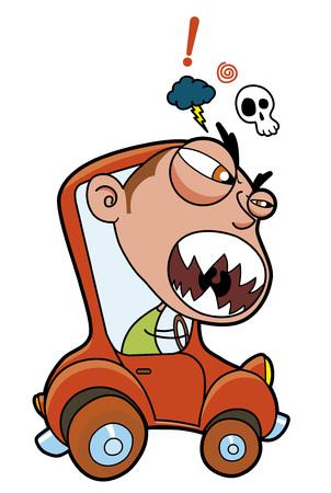 aggressive: Furious driver in a little car