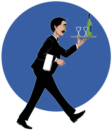 Waiter with the tray Vector