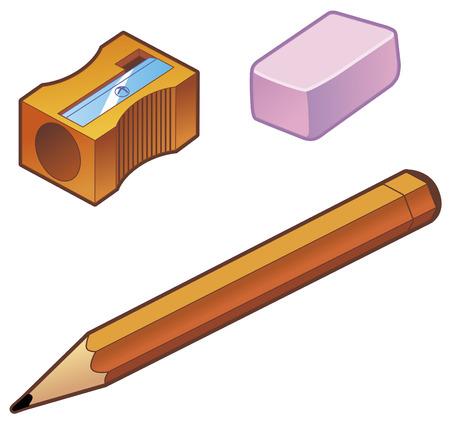 Sharpener goma de borrar lápiz  Ilustración de vector