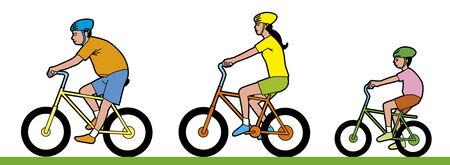Man,woman and child riding bike