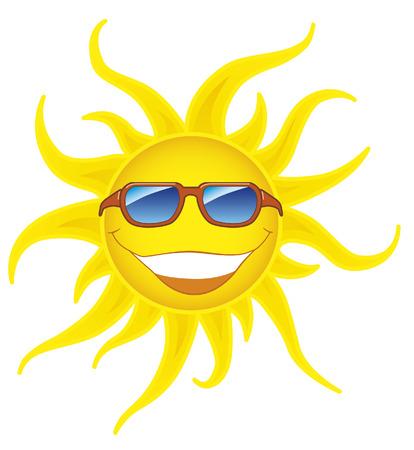 soleil souriant: Le soleil de sourire avec des lunettes de soleil