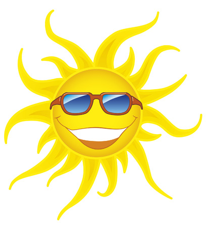 cartoon summer: Smiling sun with sunglasses