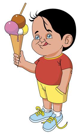 cornet: Child with big cornet ice cream Illustration