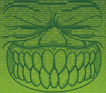 informatics: Informatics virus in binary code Illustration