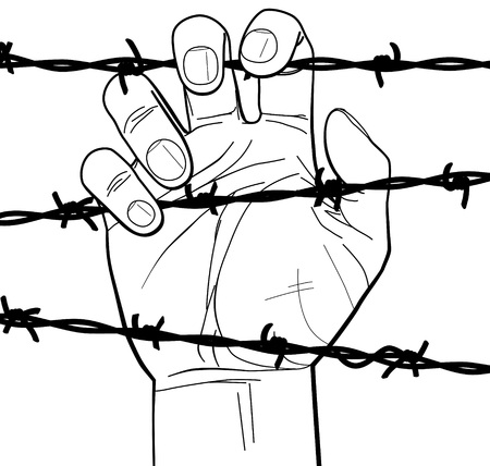 Closeup of hand on barbed wire