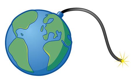 air pollution cartoon: Earth bomb