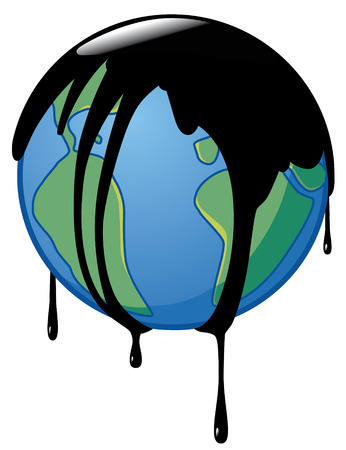 polluting: Earth wrapped-up in crude oil