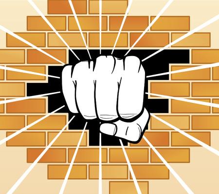 Fist breaking a wall