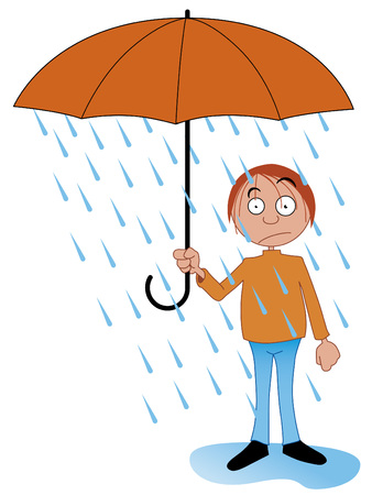 rain cartoon: Rain inside the umbrella Illustration