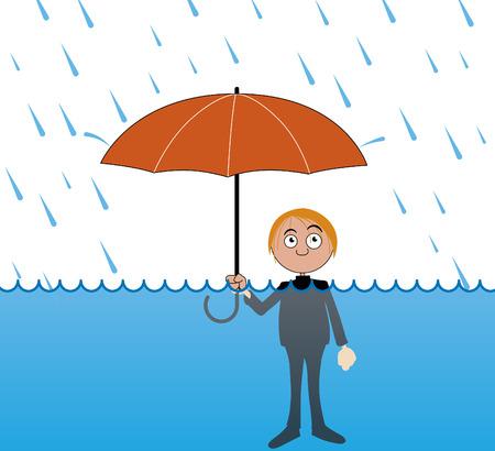 cartoon rain: Man under very heavy rain