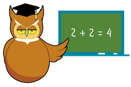 Wise owl teaching Vector