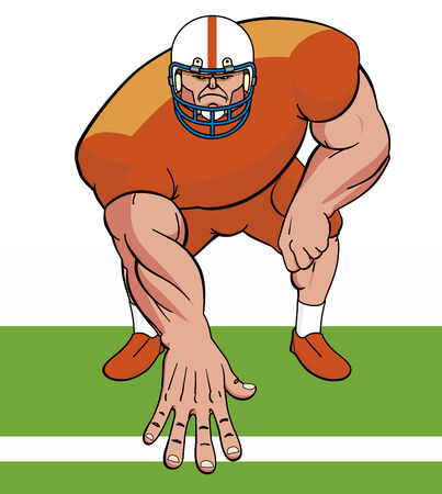 football players: American football player Illustration