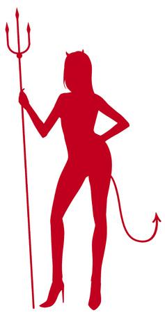 cola mujer: Silueta Mujer Diablo  Vectores