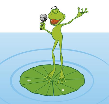 sapo: Frog cantando en el estanque