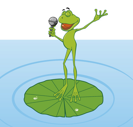 Frog singing in the pond  Illustration