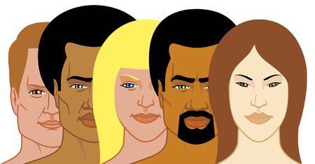Interracial group of people Illustration
