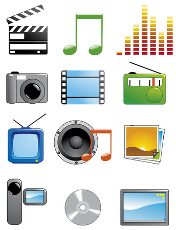 Set media icons Illustration