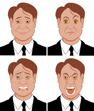 caras tristes: Emociones 3 caracteres mostrando diferentes emociones