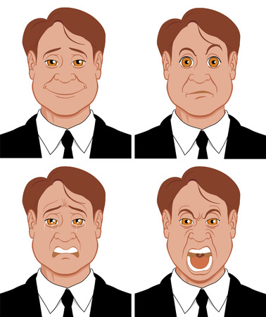 upset man: Emotions 3 Character showing different emotions Illustration