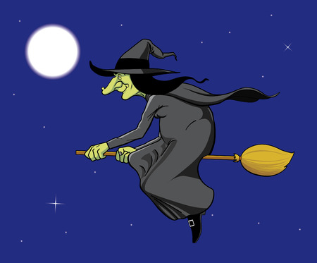 Witch flying in broom Vector