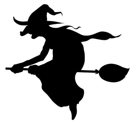 heks: Silhouet van vliegende heks op bezem Stock Illustratie