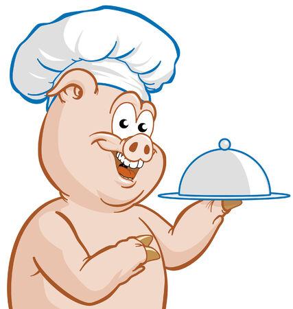 Chef piggy Vector