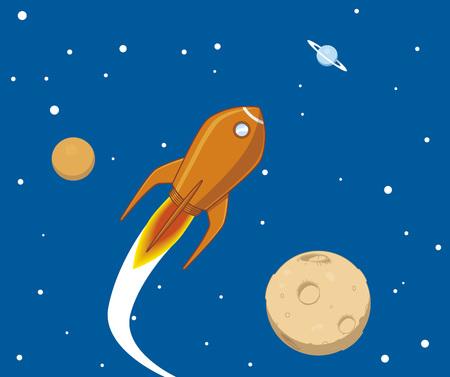 luna caricatura: Nave espacial en el espacio