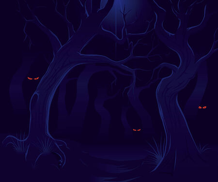 Scary forest at night Vector