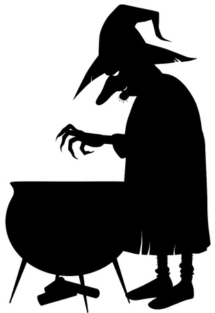 cauldron: Silhouette of witch making potion