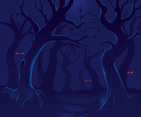 Scary forest at night 2 Vector