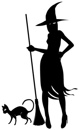 Silhouette of witch and black cat