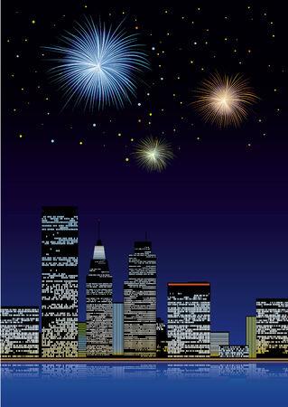 Firework on the city Vector
