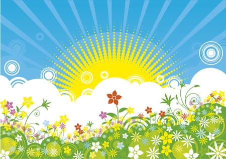 Spring sunrise background Vector