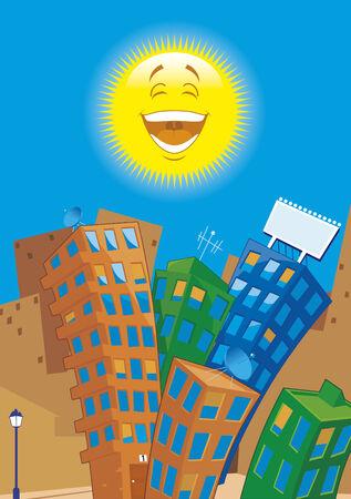 streetlamp: Cartoon city at day Illustration
