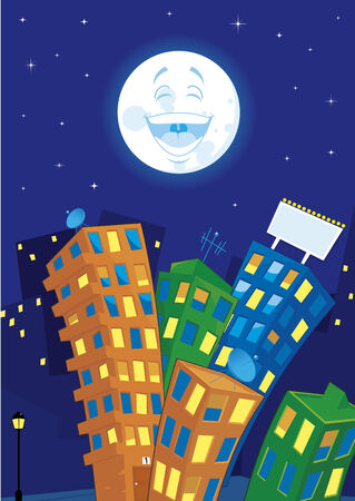 Cartoon city at night Vector