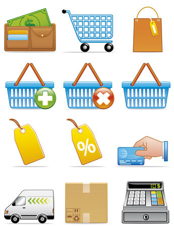 hand baskets: Shopping icons Illustration