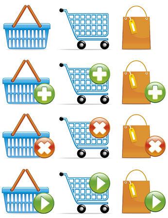valider: Panier, panier et sac ic�nes Concepts: ajouter, supprimer et de valider. Illustration